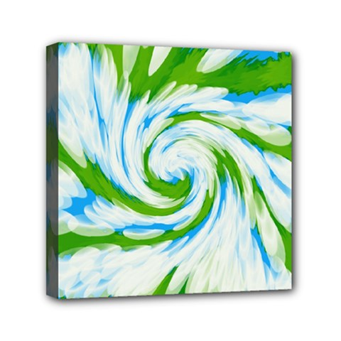 Tie Dye Green Blue Abstract Swirl Mini Canvas 6  X 6  by BrightVibesDesign