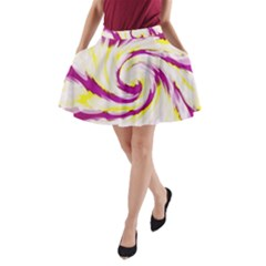 Tie Dye Pink Yellow Swirl Abstract A-Line Pocket Skirt by BrightVibesDesign