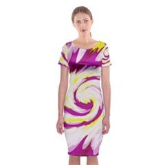 Tie Dye Pink Yellow Swirl Abstract Classic Short Sleeve Midi Dress