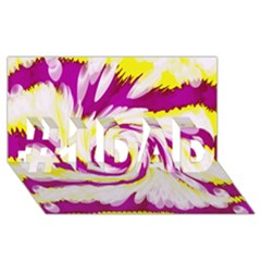 Tie Dye Pink Yellow Abstract Swirl #1 Dad 3d Greeting Card (8x4)  by BrightVibesDesign