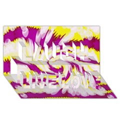 Tie Dye Pink Yellow Abstract Swirl Laugh Live Love 3d Greeting Card (8x4)  by BrightVibesDesign