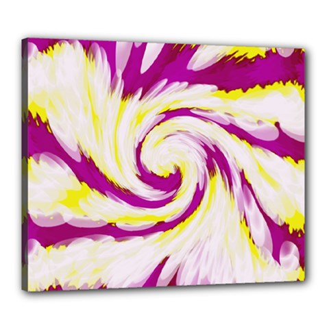 Tie Dye Pink Yellow Abstract Swirl Canvas 24  X 20  by BrightVibesDesign