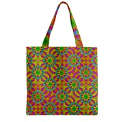 Modern Colorful Geometric Zipper Grocery Tote Bag by dflcprints