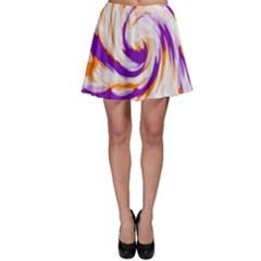 Tie Dye Purple Orange Abstract Swirl Skater Skirt by BrightVibesDesign