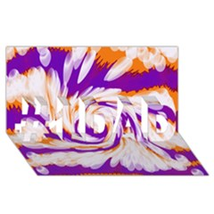 Tie Dye Purple Orange Abstract Swirl #1 Dad 3d Greeting Card (8x4)  by BrightVibesDesign
