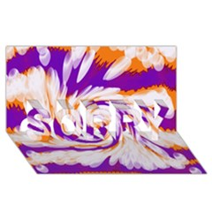 Tie Dye Purple Orange Abstract Swirl Sorry 3d Greeting Card (8x4)  by BrightVibesDesign