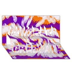 Tie Dye Purple Orange Abstract Swirl Congrats Graduate 3d Greeting Card (8x4)  by BrightVibesDesign