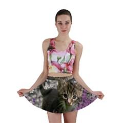 Emma In Flowers I, Little Gray Tabby Kitty Cat Mini Skirt by DianeClancy