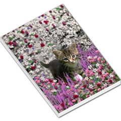 Emma In Flowers I, Little Gray Tabby Kitty Cat Large Memo Pads by DianeClancy