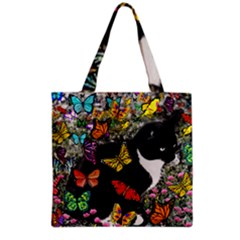 Freckles In Butterflies I, Black White Tux Cat Grocery Tote Bag by DianeClancy