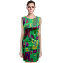 Bright Green Mod Pop Art Classic Sleeveless Midi Dress by BrightVibesDesign