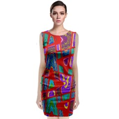Bright Red Mod Pop Art Classic Sleeveless Midi Dress by BrightVibesDesign