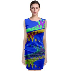 Colorful Wave Blue Abstract Classic Sleeveless Midi Dress by BrightVibesDesign