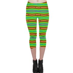 Bright Green Orange Lines Stripes Capri Leggings  by BrightVibesDesign