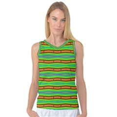 Bright Green Orange Lines Stripes Women s Basketball Tank Top by BrightVibesDesign