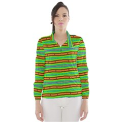 Bright Green Orange Lines Stripes Wind Breaker (women) by BrightVibesDesign