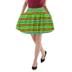 Bright Green Orange Lines Stripes A-Line Pocket Skirt by BrightVibesDesign