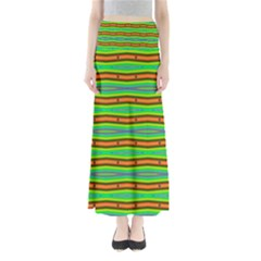 Bright Green Orange Lines Stripes Maxi Skirts by BrightVibesDesign