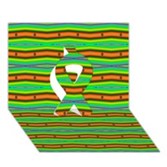 Bright Green Orange Lines Stripes Ribbon 3d Greeting Card (7x5)  by BrightVibesDesign