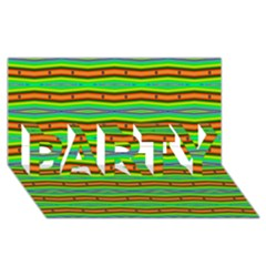 Bright Green Orange Lines Stripes Party 3d Greeting Card (8x4)  by BrightVibesDesign