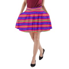 Bright Pink Purple Lines Stripes A-Line Pocket Skirt by BrightVibesDesign