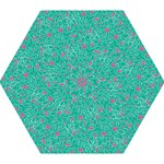 Pink and Teal Leafy Mini Folding Umbrella