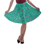 Pink and Teal Leafy A-line Skater Skirt