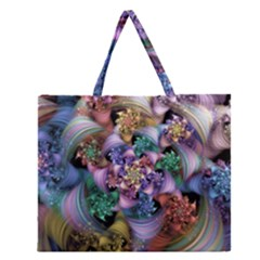 Bright Taffy Spiral Zipper Large Tote Bag by WolfepawFractals