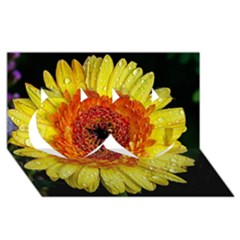 Yellow Flower Close Up Twin Hearts 3d Greeting Card (8x4)  by MichaelMoriartyPhotography