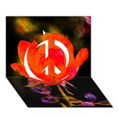 Red Beauty Peace Sign 3d Greeting Card (7x5)  by MichaelMoriartyPhotography