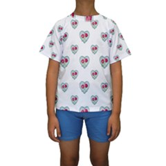 Love Ornate Motif Print Kid s Short Sleeve Swimwear by dflcprintsclothing