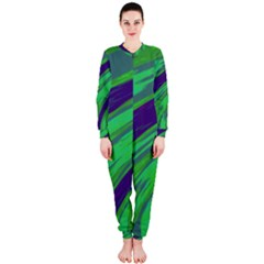 Swish Green Blue OnePiece Jumpsuit (Ladies)  by BrightVibesDesign