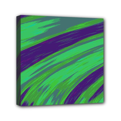Swish Green Blue Mini Canvas 6  X 6  by BrightVibesDesign