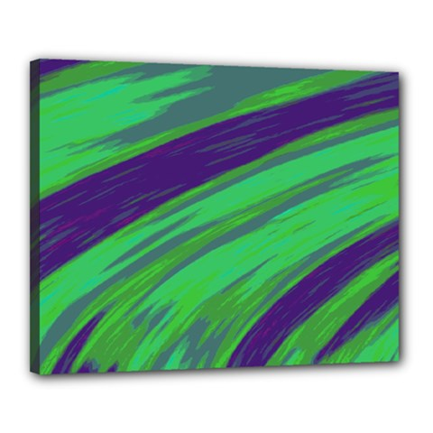 Swish Green Blue Canvas 20  X 16  by BrightVibesDesign