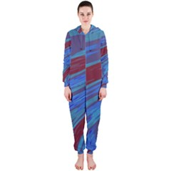 Swish Blue Red Abstract Hooded Jumpsuit (ladies)  by BrightVibesDesign
