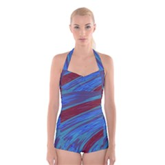 Swish Blue Red Abstract Boyleg Halter Swimsuit  by BrightVibesDesign