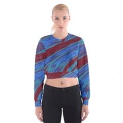 Swish Blue Red Abstract Women s Cropped Sweatshirt by BrightVibesDesign