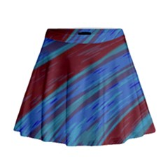 Swish Blue Red Abstract Mini Flare Skirt by BrightVibesDesign