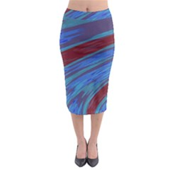 Swish Blue Red Abstract Midi Pencil Skirt by BrightVibesDesign