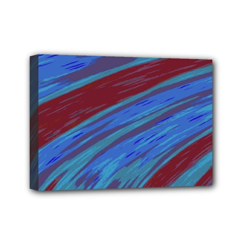 Swish Blue Red Abstract Mini Canvas 7  X 5  by BrightVibesDesign