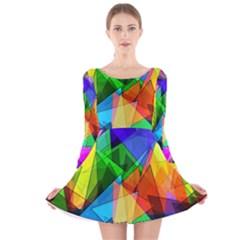 Colorful Triangles                                                                  Long Sleeve Velvet Skater Dress by LalyLauraFLM