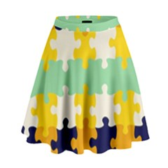 Puzzle pieces                                                                       High Waist Skirt by LalyLauraFLM