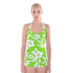 Lime Hawaiian Boyleg Halter Swimsuit