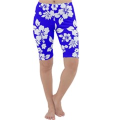 Deep Blue Hawaiian Cropped Leggings  by AlohaStore