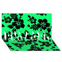 Dark Lime Hawaiian Engaged 3d Greeting Card (8x4)  by AlohaStore