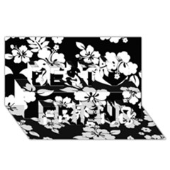Black And White Hawaiian Best Friends 3d Greeting Card (8x4)  by AlohaStore