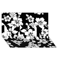 Black And White Hawaiian Mom 3d Greeting Card (8x4)  by AlohaStore