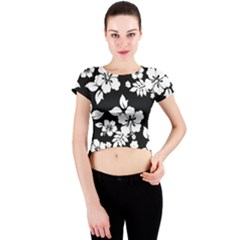 Black And White Hawaiian Crew Neck Crop Top by AlohaStore