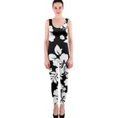 Black And White Hawaiian Onepiece Catsuit by AlohaStore