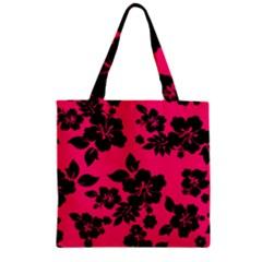 Dark Pink Hawaiian Zipper Grocery Tote Bag by AlohaStore